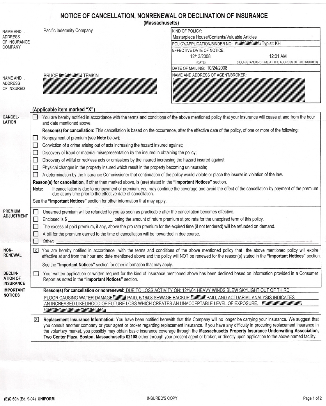 "car insurance renewal letter template  What Can I Do When My Insurance Is ""Non-Renewed?"""